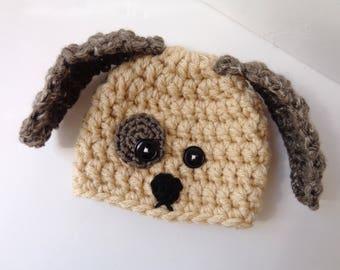 Newborn Crochet Puppy Dog Hat, Knit Hat, Baby Boy, Baby Girl, Animal Hat, Photo prop