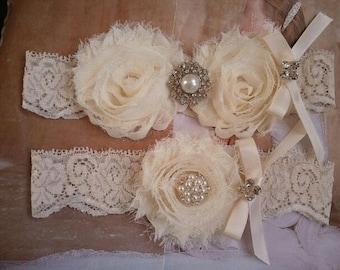 Wedding Garter, Bridal Garter, Garter - Ivory Garter Set with Peral & Rhinestone - Style G267
