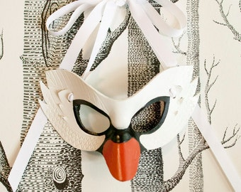 White Swan Leather Mask, Adult Size - Made to Order ECO-FRIENDLY Holiday