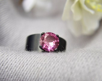 Silver Ring with Pink Tourmaline, Wide Band Statement Ring in Pink Tourmaline and Sterling Silver, October Birthstone