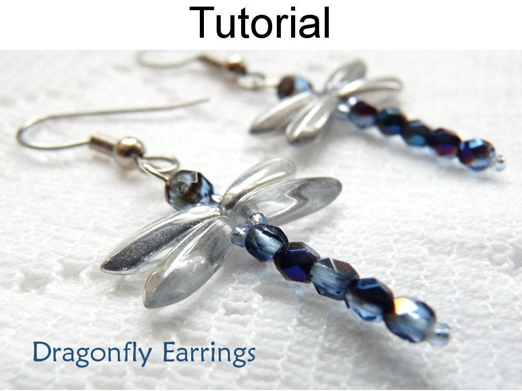 Beading Tutorial Pattern Beaded Dragonfly Earrings