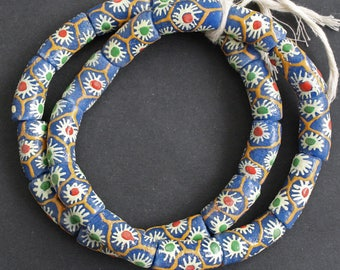 Chunky African Beads, Blue Ethnic Krobo Recycled Glass Beads, 20-30 mm, 1 Strand of 12