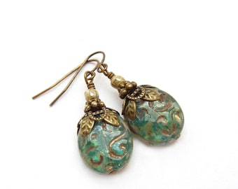 Moss Green Earrings - Etched Picasso Glass Ovals - Aqua - Antique Bronze - Dangle Earrings - Retro Vintage Inspired