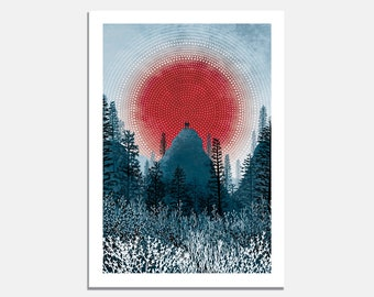 Zenith Art Print / mountaintop / mountain / climbing / hiking / explore / silhouette / adventure / apex / landscape / red sun / meditate