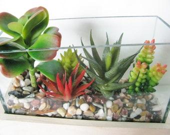 Faux Succulent Terrarium, Artificial Succulent, Faux Succulent Planter, Modern Arrangement, Housewarming Gift, Succulent Garden