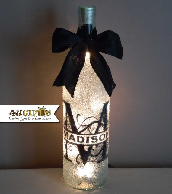 Wedding Wine Bottle Gifts: Decorated Wine Bottle Monogramed Gift Personalized Gift Last