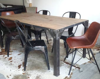 Industrial furniture table dining aged wood and steel