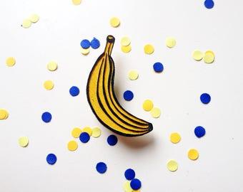 Wooden Yellow Banana Pin / Brooch / Badge