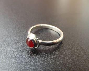 sterling silver 5mm carnelian ring