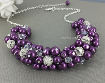 Bridesmaid Gift Plum Cluster Necklace Purple Necklace Rhinestones Necklace Jewelry Necklace Wedding Bridal Party Jewelry