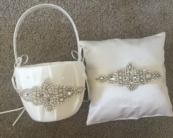 Wedding Flower Basket & Ring Bearer Pillow Set
