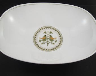 Noritake China Hermitage Pattern Oval Vegetable Serving Bowl Birds and Tulips Design 10 inch bowl