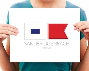 Sandbridge Beach - Virginia - Nautical Flag Art Print - 8x10 or 11x14