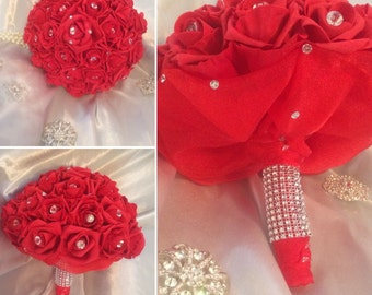 Red  Artificial Bridal Bouquet, with crystal diamante effect in the centre