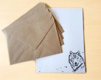 Stationery Letter Writing Set with kraft envelopes - Wolf