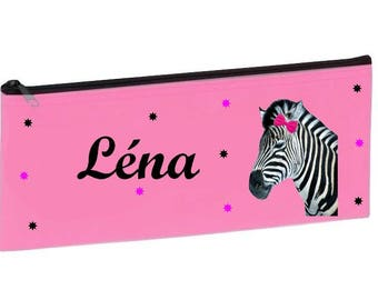 Personalized with name pink Zebra School Kit
