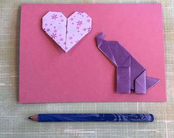 Origami large greeting card - floral heart with elephant (pink)
