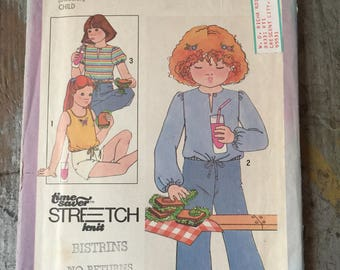 Vintage Simplicity Sewing Pattern 8598 Child's Pullover Tops Size 5 6 6X