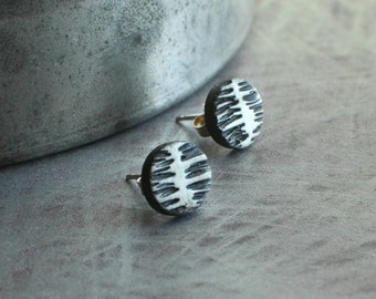 Artisan studs, wearable art, sculptural jewelry, spine Post earrings in white, black and white