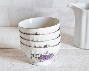 Set of 4 Lovely Vintage French Mini Bowl DIGOIN SARREGUEMINES Floral Pattern - Breakfast Bowl Purple Flowers Decor