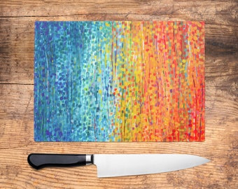 Exceptionnel Teal U0026 Orange Impressionist Glass Chopping Board   Worktop Saver, Platter,  Tray, Large Cutting Board, Kitchen Gift, Kitchen Accessories