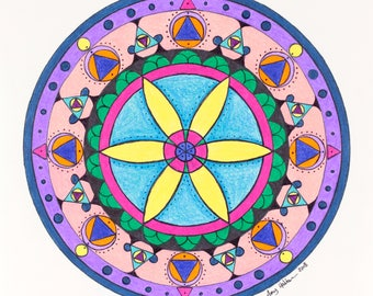 Sacred Geometry Flower Mandala Art Abstract Original Drawing