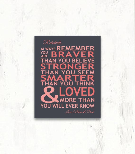 Always Remember You Are Loved: Personalized Always Remember You Are Braver You Are Loved Gift