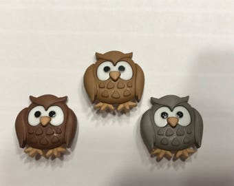 3 large owl button mix, 22 x 23 mm (17)