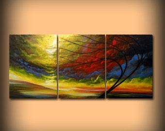 large wall art home and living home decor wall hangings surreal abstract painting acrylic wall decor tree painting retro mid century 24x54""