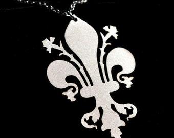 Fleur de lis necklace in silver stainless steel, Fleur de lis jewelry, New Orleans Jewelry