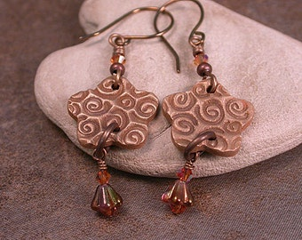 Rustic Bronze Earrings, Bronze Metal Clay Jewelry, Flower Charms, Divine Spark Designs, SRA