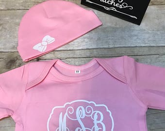 infant gown with hat, newborn gown, newborn gown with hat, monogrammed newborn gown, personalized baby gown, baby shower gift, baby gifts