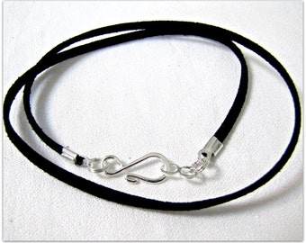 14 to 24 inch Black Suede Necklace Cord,  Designer Necklace Cord, Jewelry Cord, Black Necklace Cord, Jewelry Accessory, Silver Hook Clasp
