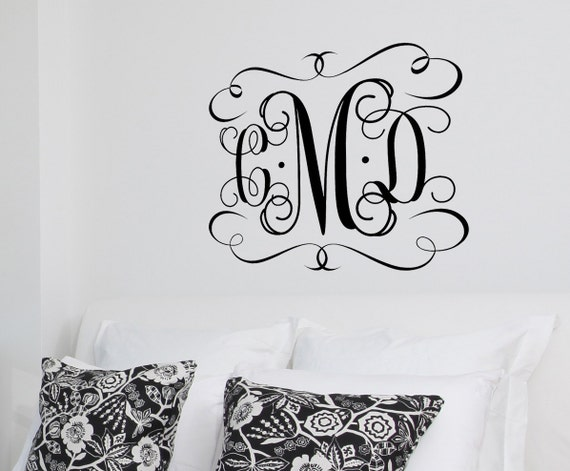 sc 1 st  Etsy : large monogram wall decal - www.pureclipart.com
