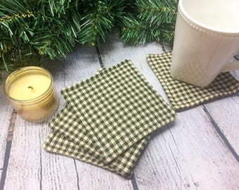 Fabric Coasters, Gift Set, Washable, Absorbant, Stocking Stuffer, Holiday Present, Flannel, Plaid, Tan and Black