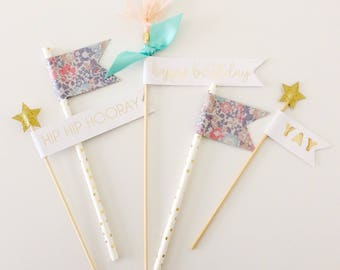 Gold & Floral Birthday Cake Toppers