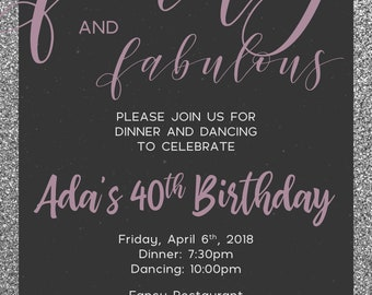 Forty and Fabulous Birthday Party Invitation