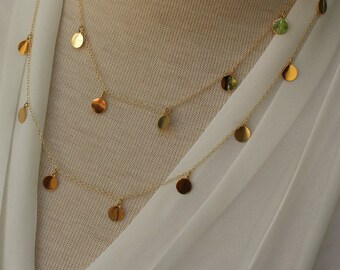 gold disc necklace, Courtney Cox Cougar Town Necklace, Layering Gold disc Necklace, Long Discs necklace, Gold Necklace, Disc Necklace,