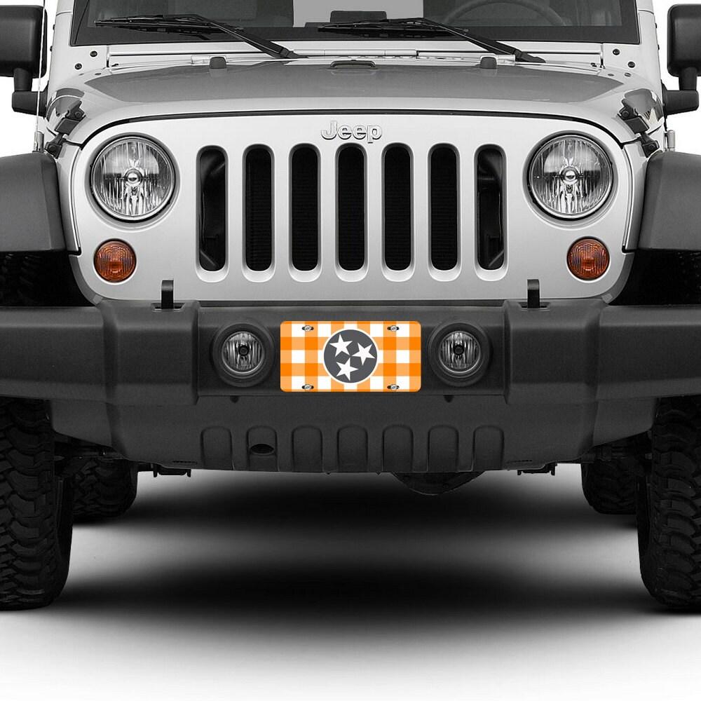 Tennessee License Plate Car Tag Orange White Checkerboard TN