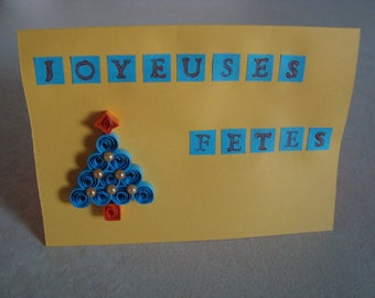 Card in quilling - yellow and blue happy holidays