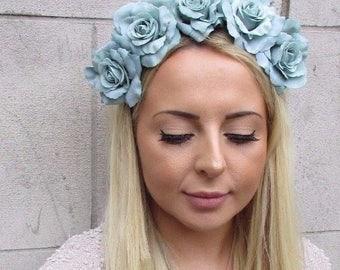 Large Mint Green Rose Flower Garland Headband Festival Hair Band Crown Boho 3190