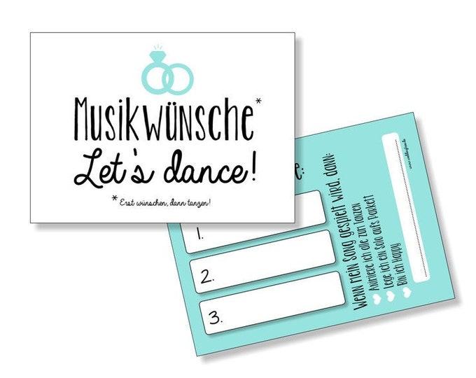 Wedding 50 Music Wish cards-turquoise-Hochzeitsdeko