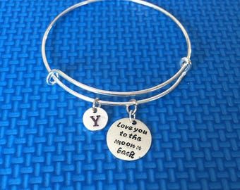 Love you to the moon and back initial bracelet, Gift for someone you love,  CP52