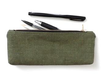 Waxed Canvas Pencil Case Zipper Pencil Pouch Waxed Hemp Recycled