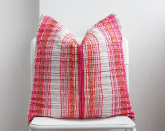 White White Red Pink Striped Hmong Pillow Cover