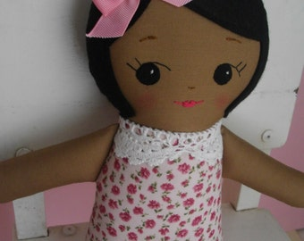 Classic Rag Doll with Brown skin - Adorable cloth doll Ragdoll plushie gift for girls - Made to Order