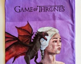 Game of Thrones Purple Tote - Hand Painted - Daenerys Targaryen