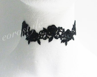 Black Lace Choker Necklace, Flower Choker, Bridal Necklace, Gothic Choker, Wedding Jewlery, Mothers day gift idea, Bridesmaid Gifts, Prom