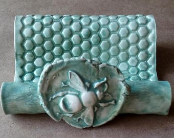 Ceramic Sponge Holder Business Card Holder Cell phone holder pale sea green Bee
