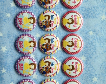 "Beauty And The Beast Buttons, Princess Belle, Fairy Tale Buttons, Sweet Beauty, BFF, 1"" Flatback Buttons, 15 Buttons Total"
